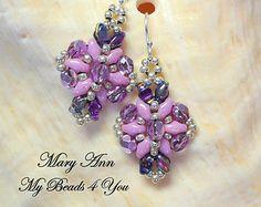 SuperDuo Beadwoven pendientes, regalo de la joyería de Dama de honor, pendientes de abalorios, cristal, cuentas pendientes, cuentas SuperDuo, joyas regalo