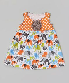 Another great find on #zulily! Orange & White Elephant Lettuce Swing Top - Toddler & Girls #zulilyfinds