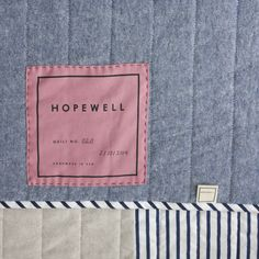 Modern Quilts by Hopewell Label Idea. Quilt Labels, Fabric Labels, Tag Design, Label Design, Detail Design, Graphic Design, Packaging Design, Man Quilt, Quilt Modernen
