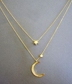 Layered Star and Crescent Moon Necklace - Gold Moon star necklace