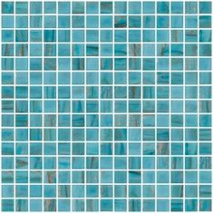 3/4 Inch Light Turquoise Blue Gold Marbled Glass Tile