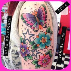 https://www.facebook.com/VorssaInk, http://tattoosbykata.blogspot.fi, #tattoo #tatuointi #katapuupponen #vorssaink #forssa #finland #traditionaltattoo #suomi #oldschool #pinup #flower #butterfly