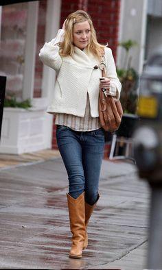 Loving the sweater jacket and boho bag.