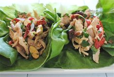 Italian Chicken Salad in Lettuce Cups Giada De Laurentis Made this in 2012 for a luncheon. Next time, I will try jarred roasted peppers to save time. Also, will halve the recipe for our family.