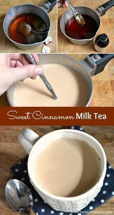 Cinnamon Milk Tea Step-by-step recipe for making Sweet Cinnamon Milk Tea! Cinnamon Milk Tea Step-by-step recipe for making Sweet Cinnamon Milk Tea! Milk Tea Recipes, Coffee Recipes, Tea Time Recipes, Recipes Dinner, Mexican Coffee Recipe, Afternoon Tea Recipes, Coconut Milk Recipes, Party Recipes, Cake Recipes