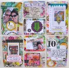 mixed media handmade cards for pocket scrapbooking. (Roben-Marie!) A good way to do 'messy' and 'mixed media' without compromising my SB page style.