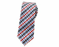 A check skinny tie will add a pop of color to your outfit without overpowering your look. The alternating color of red, black and blue on a base of white is as simple and yet as elegant as it gets. Red Black, Red And White, Ties Online, Colour Pattern, Skinny Ties, Neckties, Wedding Men, Aqua Blue, Color Combinations