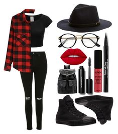 """""""Red and Black!!!"""" by theanonymousme ❤ liked on Polyvore featuring Topshop, Lime Crime, Trish McEvoy, NYX, Bobbi Brown Cosmetics, Converse and backtaschool"""
