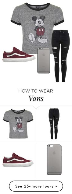 """""""Mickey Mouse❤"""" by khaelynn on Polyvore featuring Topshop, Native Union and Vans"""