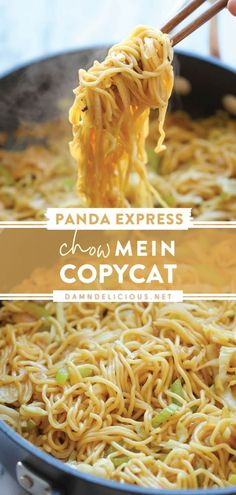 Skip the takeout and make this copycat Panda Express instead! Not only does this homemade Chow Mein take minutes to whip up, but it also tastes so better. Find yourselves devouring it like there is no tomorrow — no main dish needed! Save this easy dinner recipe! Chow Mein, Asian Recipes, Asian Foods, Asian Cooking, Food Dishes, Side Dishes, Pasta, Restaurant Recipes, Easy Meals