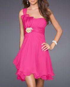 $59.99    Sexy Fuchsia Pink One Shoulder Short Chiffon Prom Cocktail Dress