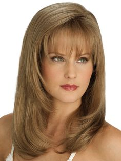 Our offers Mature Lace Front Straight Synthetic Long Wigs.Sleekly straight or softly wavy, these long hair wigs come in a range of colours. Bangs With Medium Hair, Medium Layered Hair, Medium Hair Cuts, Medium Hair Styles, Short Hair Styles, Full Bangs, Haircuts For Long Hair, Layered Haircuts, Hairstyles With Bangs