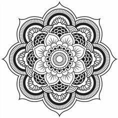 coloriage à imprimer mandala à motifs fleurs et cercles concentriques en noir et blanc