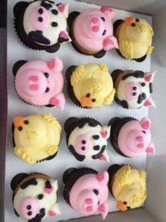 Farm Animal Cupcakes for Farm Theme Birthday Party
