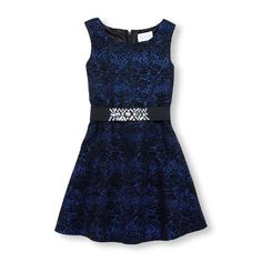 Girls Sleeveless Rhinestone Belt Jacquard Dress - Multi - The Children's Place