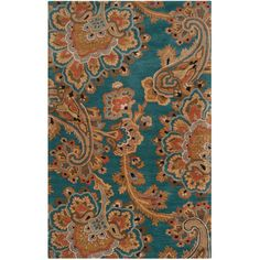 Surya Sea Teal & Gold Hand Tufted Wool Rug ($130) ❤ liked on Polyvore featuring home, rugs, teal green rug, gold area rugs, paisley rug, wool area rugs and pile rug