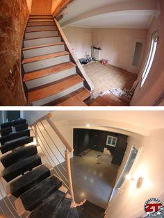 Pose de l'escalier en cours et béton ciré. Cuisine à venir