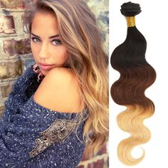 IN UK 1/2pc Ombre Human Hair Weft 1B/33/27# 14 -24  Brazilian 7A Hair Extension