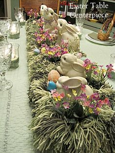 Easter Table Centerpiece - Lady Behind The Curtain. Making grass from yarn: http://www.ladybehindthecurtain.com/making-grass-from-yarn/