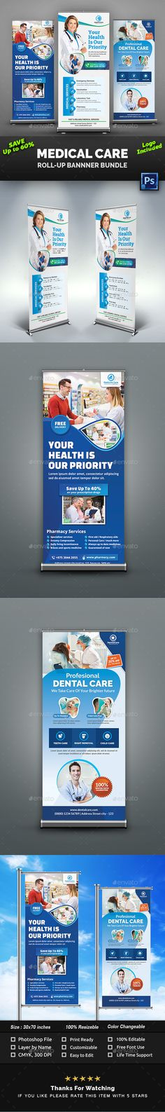 Buy Medical/Dental Care Roll-Up Banner Bundle by Creative-Touch on GraphicRiver. These Medical Care Medical Health Care, Medical Dental, Dental Care, Rollup Banner, Advertising, Ads, Promote Your Business, Priorities, Banner Design