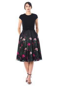 Climbing Rose Print Mixed Media Dress Eshakti Dressy Dresses Summer Dresses Mixing Prints