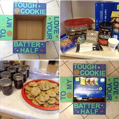 Cookie care package Army Life, Military Life, Deployment Care Packages, Carbonated Drinks, Thanks For Sharing, Gift Baskets, Dog Bowls, Thankful, Packaging