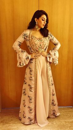 Photos: An elegant Hansika Motwani gears up to attend an event - Pinkvilla - Photos Party Wear Indian Dresses, Indian Gowns Dresses, Indian Bridal Outfits, Indian Fashion Dresses, Dress Indian Style, Indian Designer Outfits, Indian Fashion Trends, Wedding Dresses, Designer Party Wear Dresses