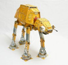 Meccano model of Star Wars' AT-AT Walker (Battle for Hoth), designed by Rob Mitchell, rebuilt by Philip Webb Rob Mitchell, At At Walker, Metal Fab, Toy Boxes, Cool Toys, Starwars Diy, Geek Stuff, Star Wars, Cool Stuff