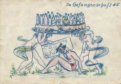 WW2 Germany Militaria Kriegsgefangenschaft 1945 Geburtstag Zeichnung Nude Girl Ww2, Germany, Nude, Ebay, Pictures, Birthday, Drawing S, Deutsch