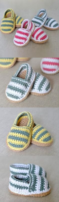 crochet-stripey-baby-espadrilles-pattern and the father Discover thousands of images about Crochet Kimono Baby Shoes Video Tutorial Baby Crochet Patterns Baby Crochet The Best Collection Of Free Patterns The WHOot (scheduled via www. Crochet Baby Clothes, Crochet Baby Shoes, Love Crochet, Crochet For Kids, Knit Crochet, Crochet Slippers, Booties Crochet, Baby Slippers, Baby Socks
