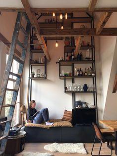 Steel cabinet with oak shelves, by Eginstill. Amsterdam Loft
