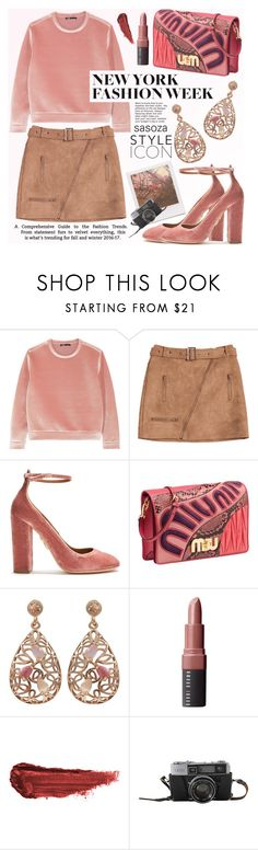 """NYFW outfit by Sasoza"" by sasooza ❤ liked on Polyvore featuring Maje, Aquazzura, Luxiro, Bobbi Brown Cosmetics, By Terry and Impossible Project"