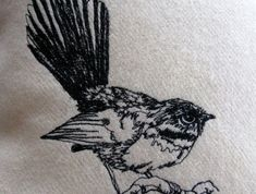 Fantail Kiwiana freehand embroidered bird cushion cover