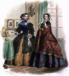 Beautiful victorian crinoline gowns from Le Moniteur de la mode - 1855, fashion plate.