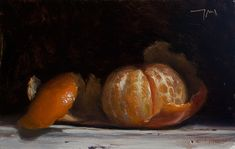 daily painting titled Peeled clementine