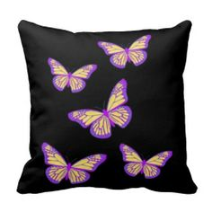 Purple Monarch Butterflies Cushion by Sharles