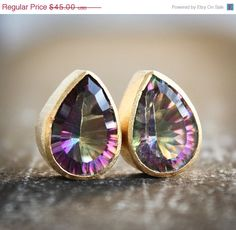 SALE Sparkling Mystic Quartz Stud Earrings - Teardrop Post Earrings - Gemstone Studs via Etsy