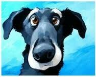 Lucky by Georg Williams - Gallery Rinard Animal Paintings, Animal Drawings, Dog Drawings, Dog Illustration, Illustrations, Wal Art, Guache, Dog Portraits, Whimsical Art