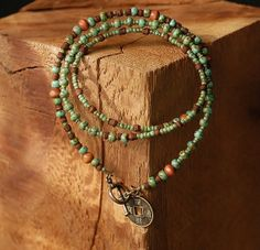 Turquoise Triple Wrap Bracelet Green Wood Beaded by digindigo, $25.00