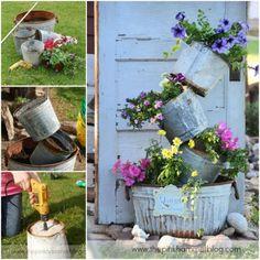 I love the buckets! Herb Garden, Garden Art, My Flower, Flower Ideas, Garden Living, Garden Crafts, Outdoor Stuff, Outdoor Decor, Container Gardening