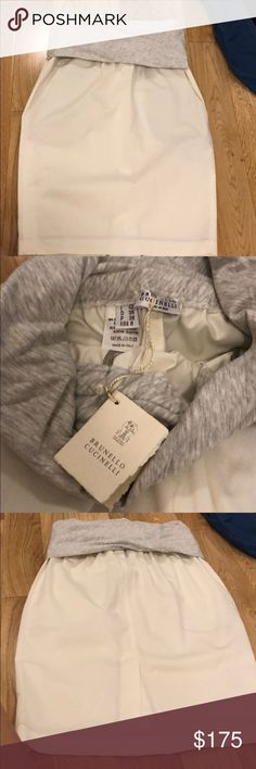 Brand new with tags!! Brunello cucinelli skirt! Amazing piece from last season! Brand new with tags never worn! Way too big on me :( the fit is amazing though and it's such a comfortable summer no brainer to have in the closet! Brunello Cucinelli Skirts Mini