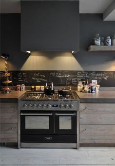 Dark grey kitchen w/ chalkboard backsplash. Love it!