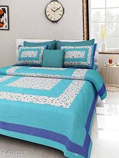 Bedsheets Stellar Cotton Double Bedsheet Fabric: Cotton No. Of Pillow Covers: 2 Thread Count: 140 Multipack: Pack Of 1 Sizes: Queen (Length Size: 100 in Width Size: 90 in Pillow Length Size: 27 in Pillow Width Size: 17 in) Country of Origin: India Sizes Available: Queen   Catalog Rating: ★4 (457)  Catalog Name: Trendy Classy Bedsheets CatalogID_687983 C53-SC1101 Code: 473-4730531-558