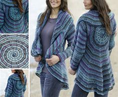 """Gypsy Blue - Crochet DROPS jacket worked in a circle in """"Big Delight"""" and """"Karisma"""". by DROPS Design Gilet Crochet, Crochet Diy, Crochet Coat, Crochet Cardigan, Crochet Scarves, Crochet Shawl, Crochet Clothes, Crochet Sweaters, Crochet Shrugs"""