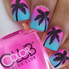Palm tree nails, nails with palm trees, summer beach nails, summer nail art Cute Nail Art, Easy Nail Art, Fancy Nails, Love Nails, Gorgeous Nails, Pretty Nails, Palm Tree Nails, Vacation Nails, Cute Nail Designs