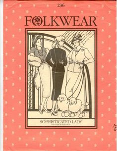 A classic suit pattern that includes a free knitting pattern for the sweater. Folkwear #236 Sophisticated Lady 1930s era suit pattern. SHIPS FREE
