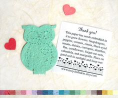 Plantable Owl Baby Shower Favors - Flower Seed Paper on Etsy, $15.00