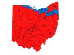 Ohio congressional district map showing effects of gerrymandering
