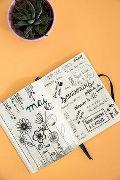 Page souvenirs dans mon bullet journal au mois de mai / Avril sur un fil