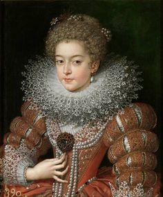 """Isabel de Francia, reina de España, Pourbus """"el Joven"""". Hacia 1615. Madrid, Museo Nacional del Prado"""